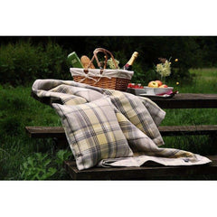 McAlister Textiles Heritage Wool Feel Mimosa Yellow Tartan Cushion-Cushions and Covers-
