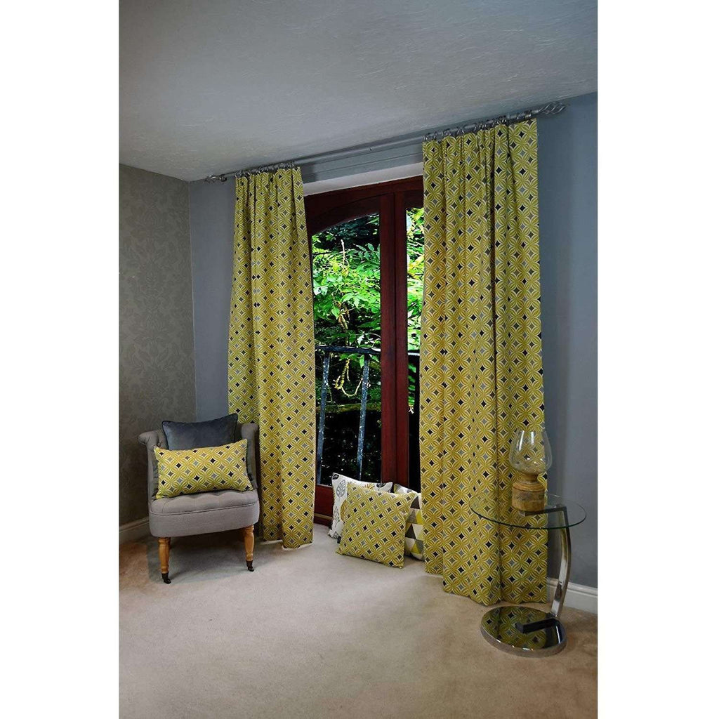 "McAlister Textiles Laila Cotton Ochre Yellow Curtains Tailored Curtains 116cm(w) x 182cm(d) (46"" x 72"")"