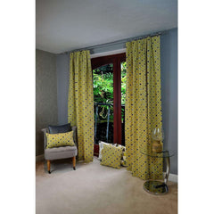 McAlister Textiles Laila Geometric Cotton Curtains - Ochre Yellow-Tailored Curtains-