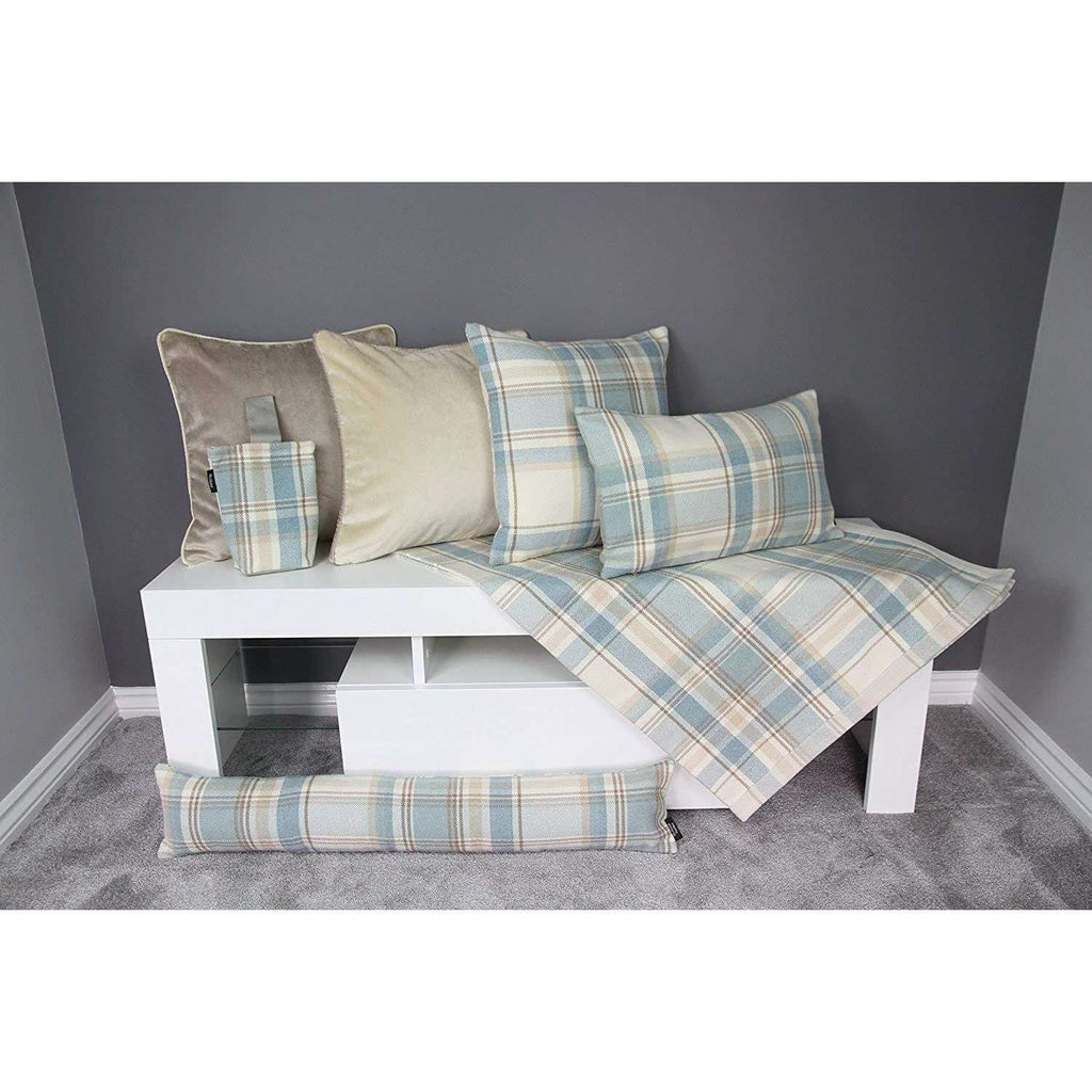 McAlister Textiles Heritage Duck Egg Blue Tartan Home Decor Design Set Throws and Runners