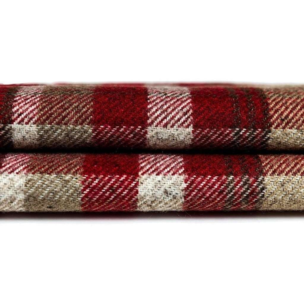 McAlister Textiles Heritage Tartan Red + White Curtain Fabric Fabrics