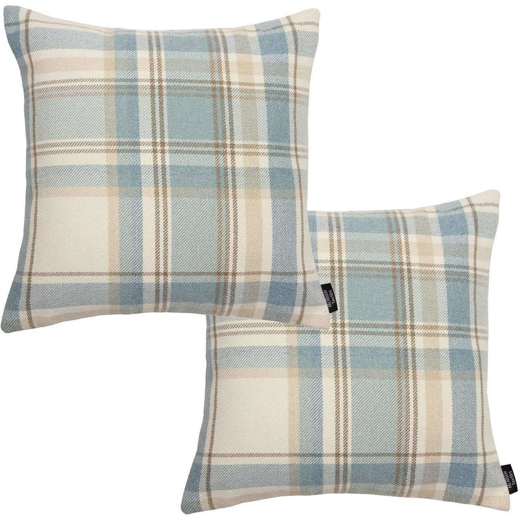 McAlister Textiles Heritage Duck Egg Blue Tartan 43cm x 43cm Cushion Sets Cushions and Covers Cushion Covers Set of 2