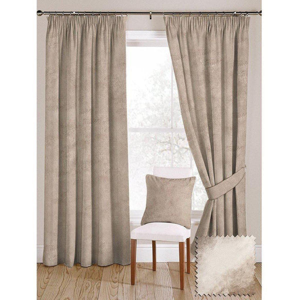 "McAlister Textiles Beige Mink Crushed Velvet Curtains Tailored Curtains 116cm(w) x 182cm(d) (46"" x 72"")"