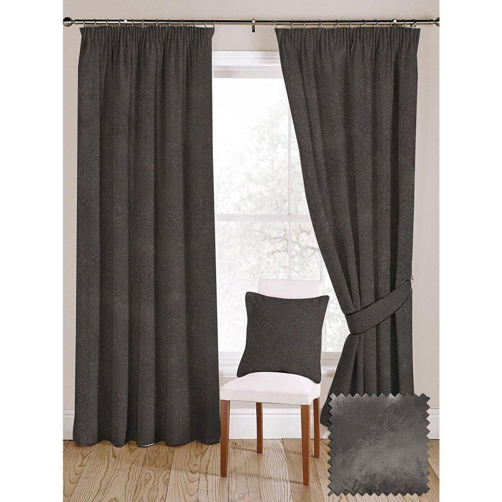 "McAlister Textiles Charcoal Grey Crushed Velvet Curtains Tailored Curtains 116cm(w) x 182cm(d) (46"" x 72"")"