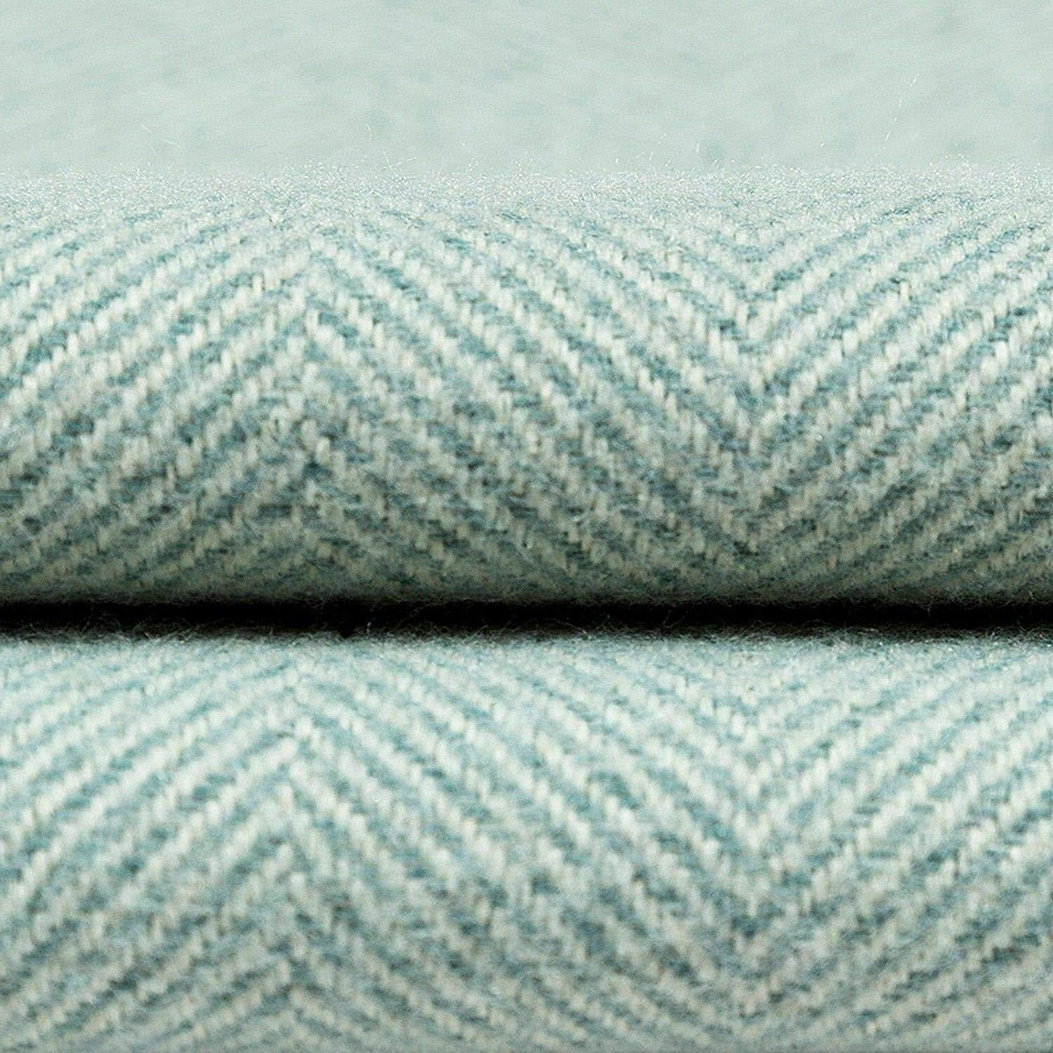 McAlister Textiles Deluxe Large Herringbone Duck Egg Blue Box Cushion Box Cushions