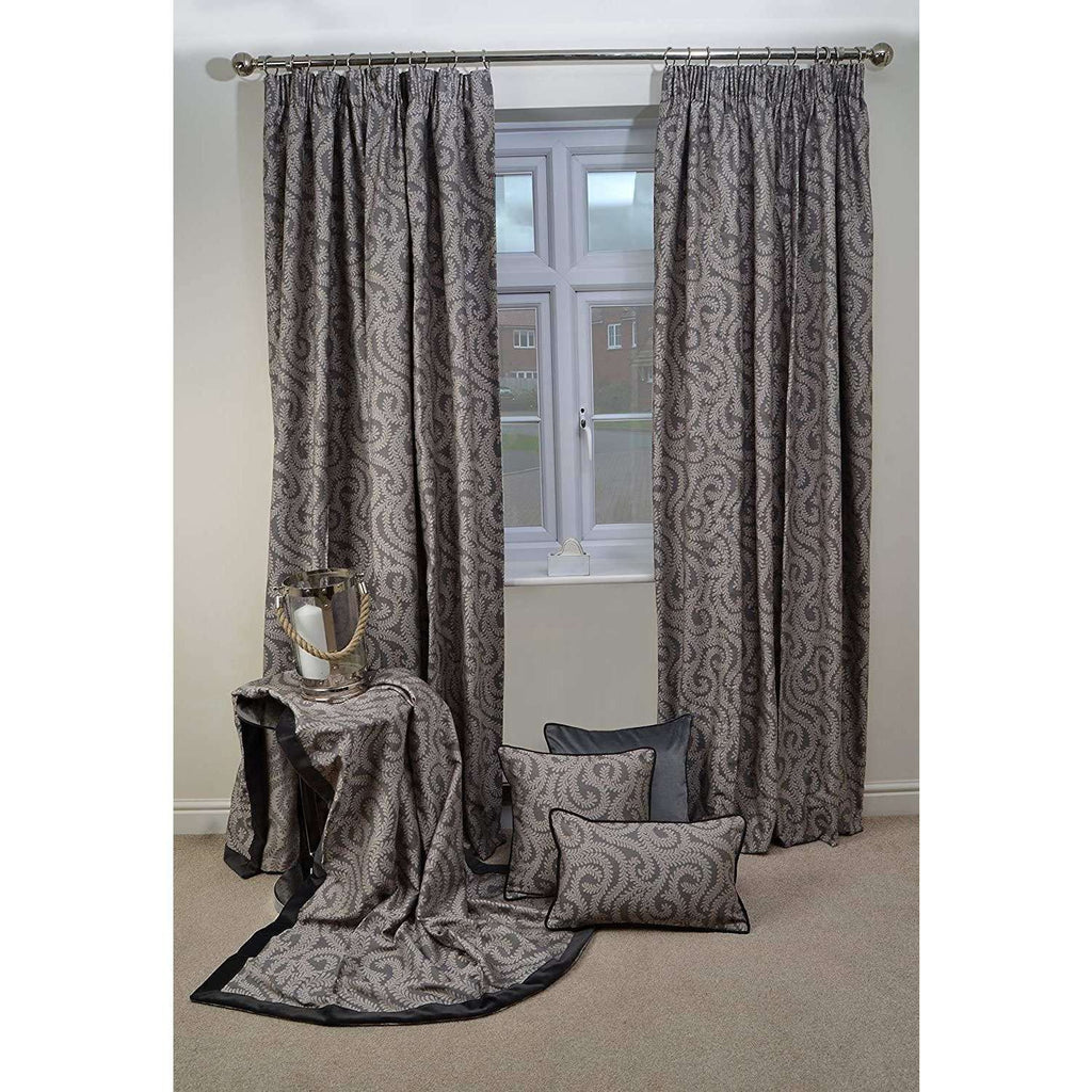 McAlister Textiles Little Leaf Charcoal Grey Throws & Runners Throws and Runners
