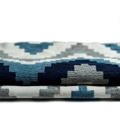 McAlister Textiles Navajo Geometric Pattern Print Tailored Curtains Made To Measure Drapes Fabric Cotton Chenille Woven Denim Blue