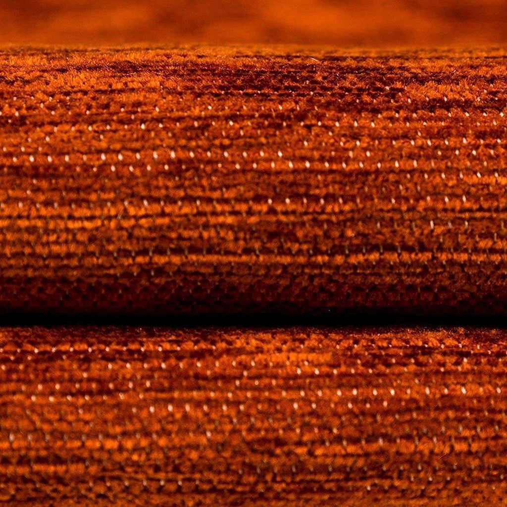 McAlister Textiles Alston Chenille Burnt Orange + Grey Throws & Runners Throws and Runners