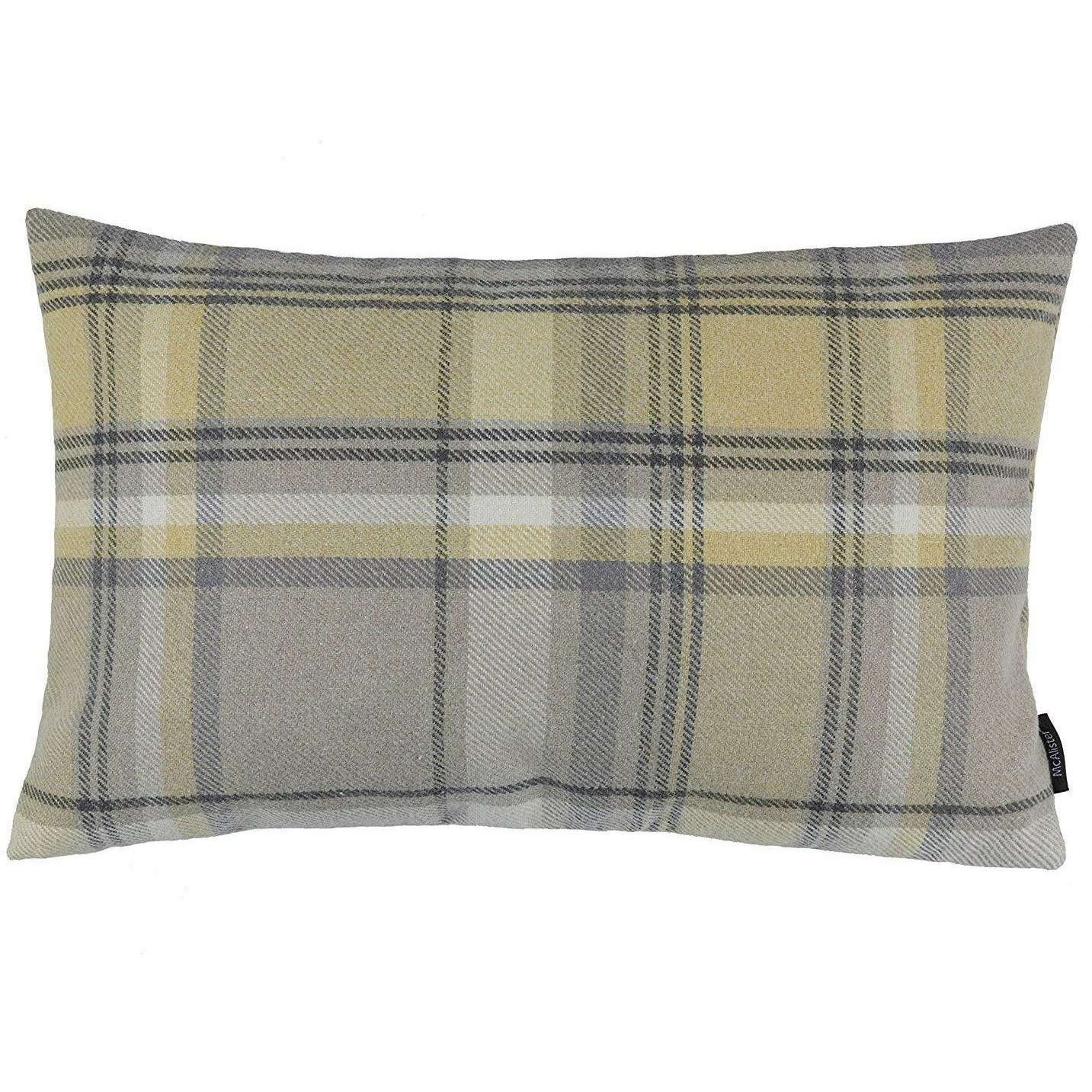 McAlister Textiles Heritage Yellow + Grey Tartan Cushion Cushions and Covers Cover Only 50cm x 30cm