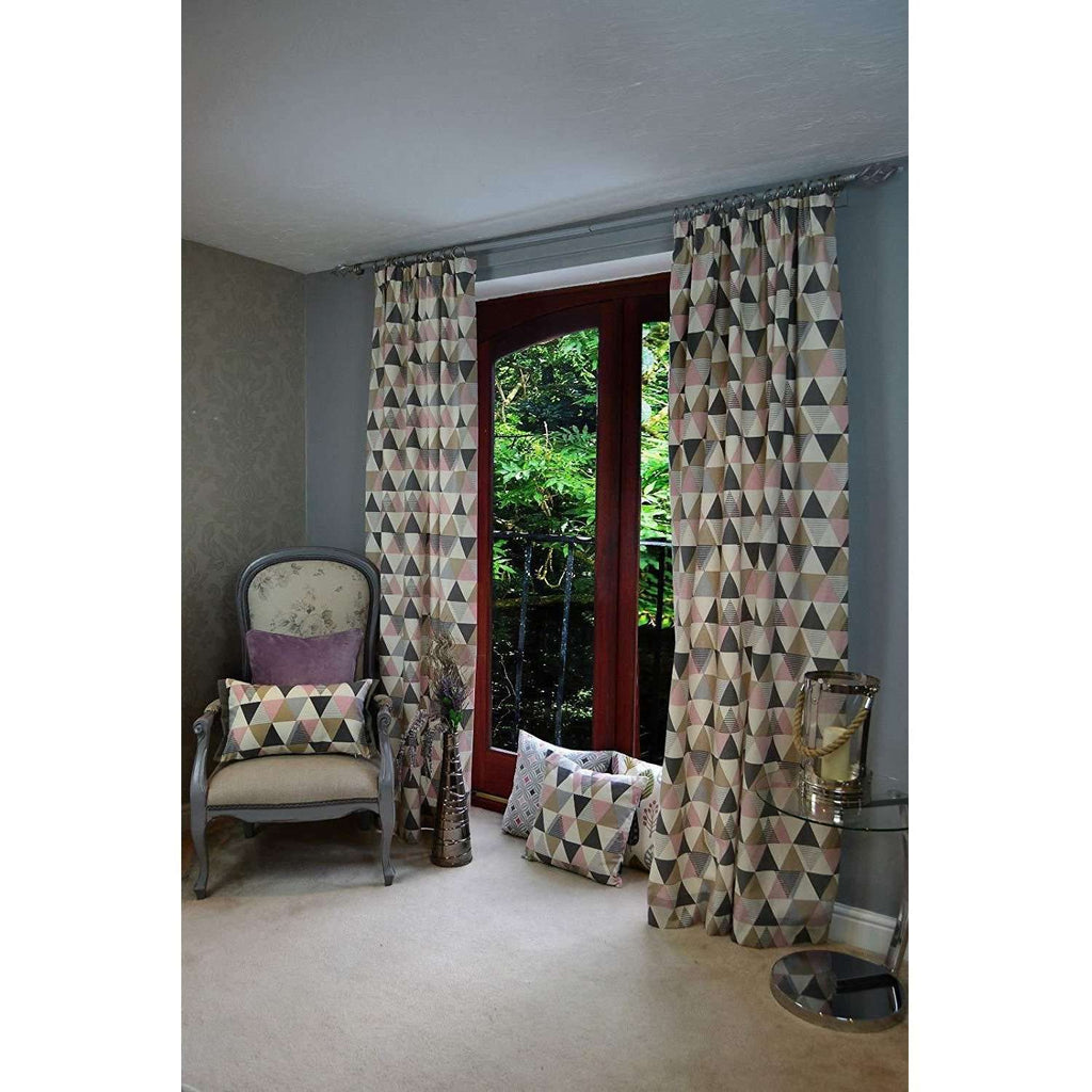 "McAlister Textiles Vita Cotton Print Blush Pink Curtains Tailored Curtains 116cm(w) x 182cm(d) (46"" x 72"")"