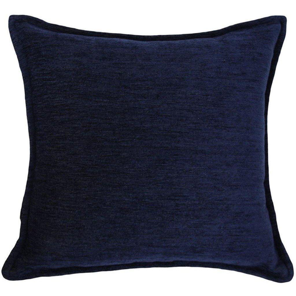 McAlister Textiles Plain Chenille Navy Blue Pillow Pillow Cover Only 43cm x 43cm