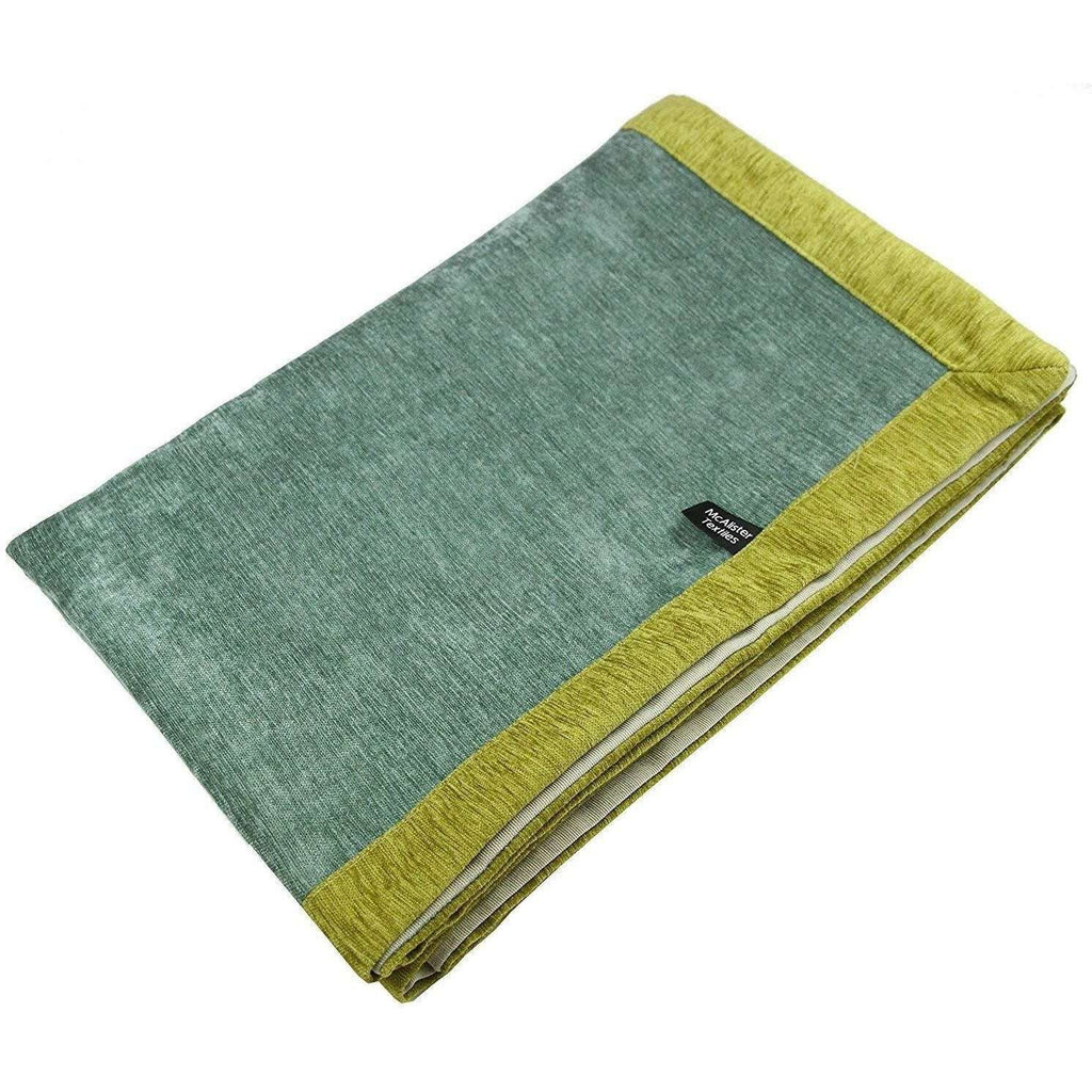 McAlister Textiles Alston Chenille Duck Egg Blue + Green Throws & Runners Throws and Runners Regular (130cm x 200cm)