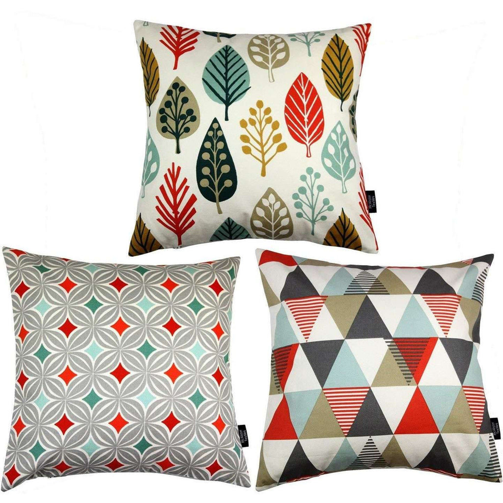 McAlister Textiles Geometric Burnt Orange 43cm x 43cm Cushion Set of 3 Cushions and Covers Cover Only