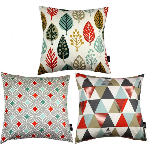 McAlister Textiles Geometric Copenhagen Cushion Set of 3 - Burnt Orange-Cushions and Covers-