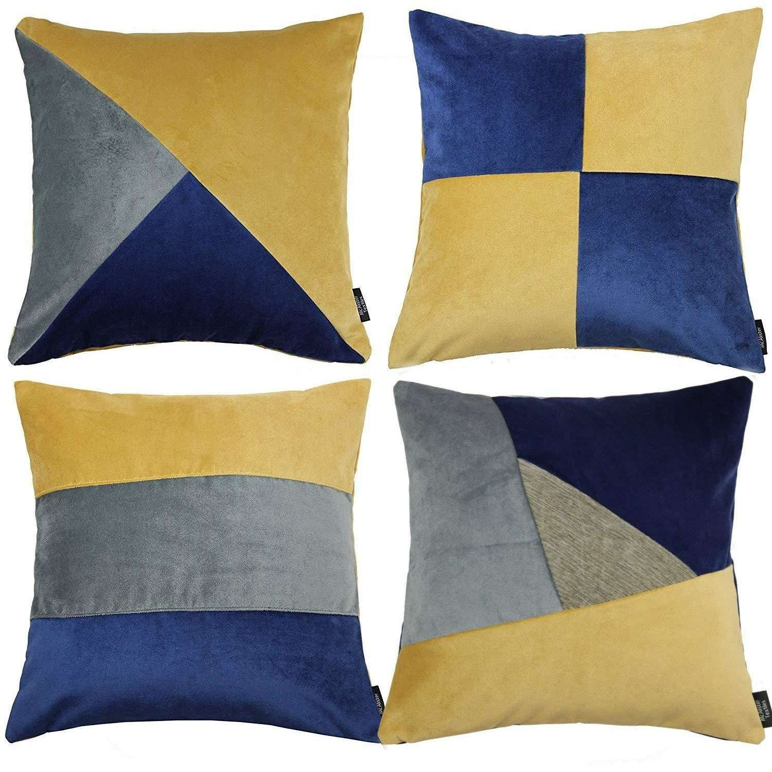 McAlister Textiles Patchwork Velvet Navy, Yellow + Grey Cushion Set Cushions and Covers Cushion Covers