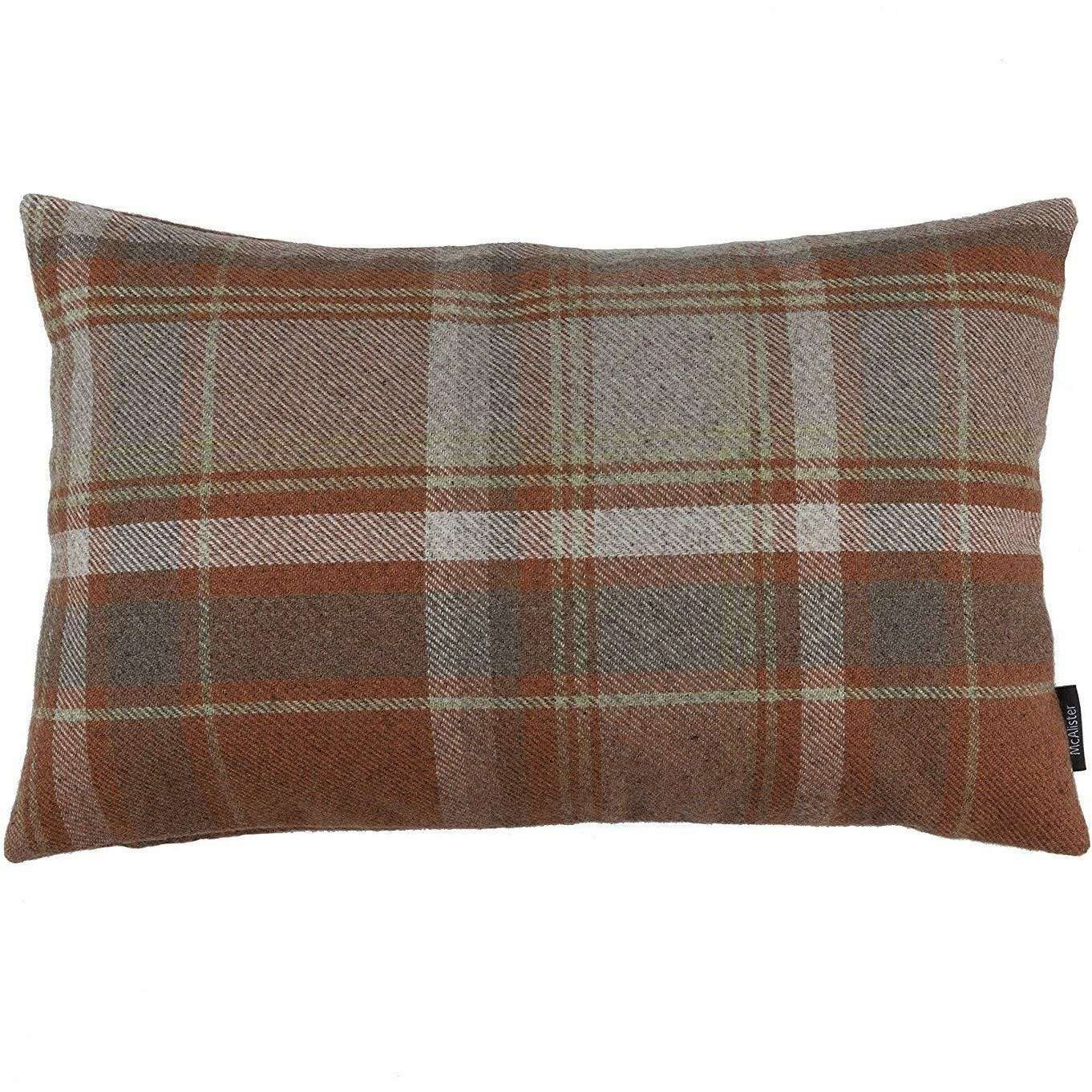 McAlister Textiles Heritage Burnt Orange + Grey Tartan Cushion Cushions and Covers Cover Only 50cm x 30cm