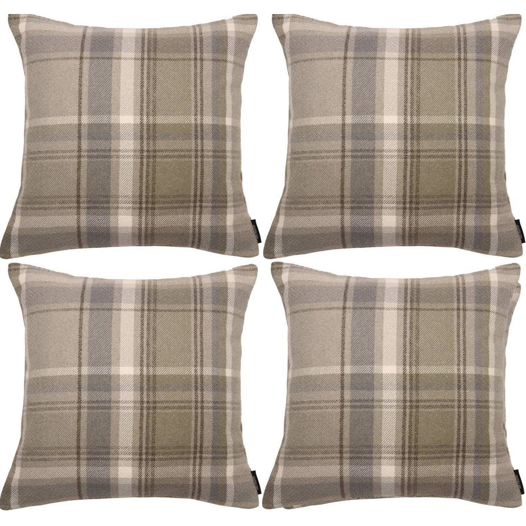 McAlister Textiles Heritage Beige Cream Tartan 43cm x 43cm Cushion Sets Cushions and Covers Cushion Covers Set of 4