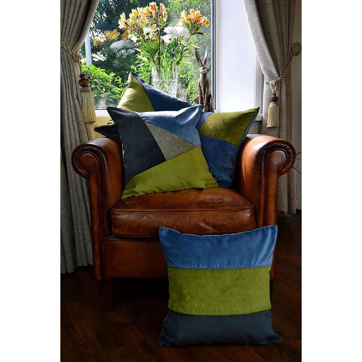 McAlister Textiles Straight Patchwork Velvet Blue, Green + Grey Cushion Cushions and Covers