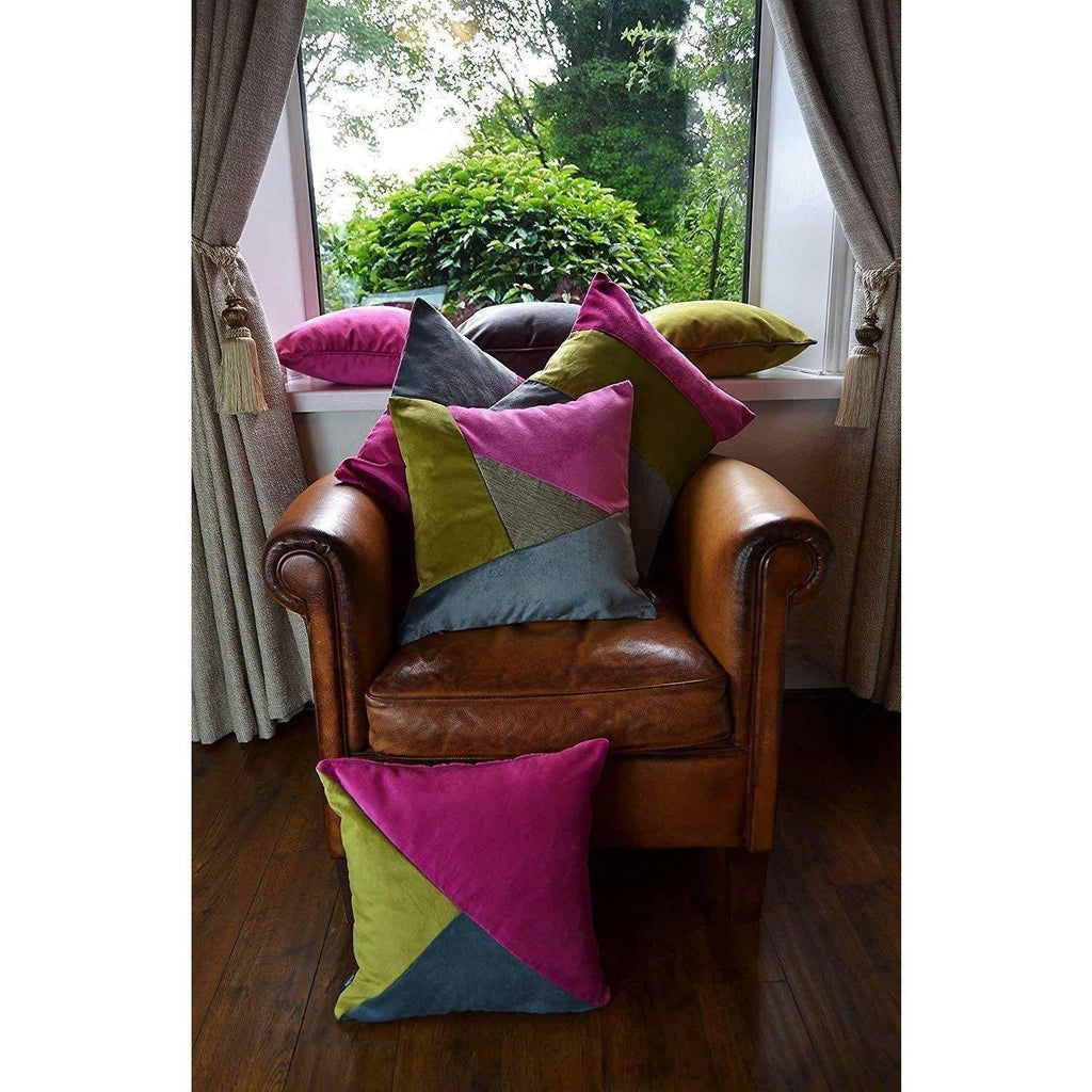 McAlister Textiles Patchwork Velvet Pink, Green + Grey 43cm x 43cm Cushion Set Cushions and Covers