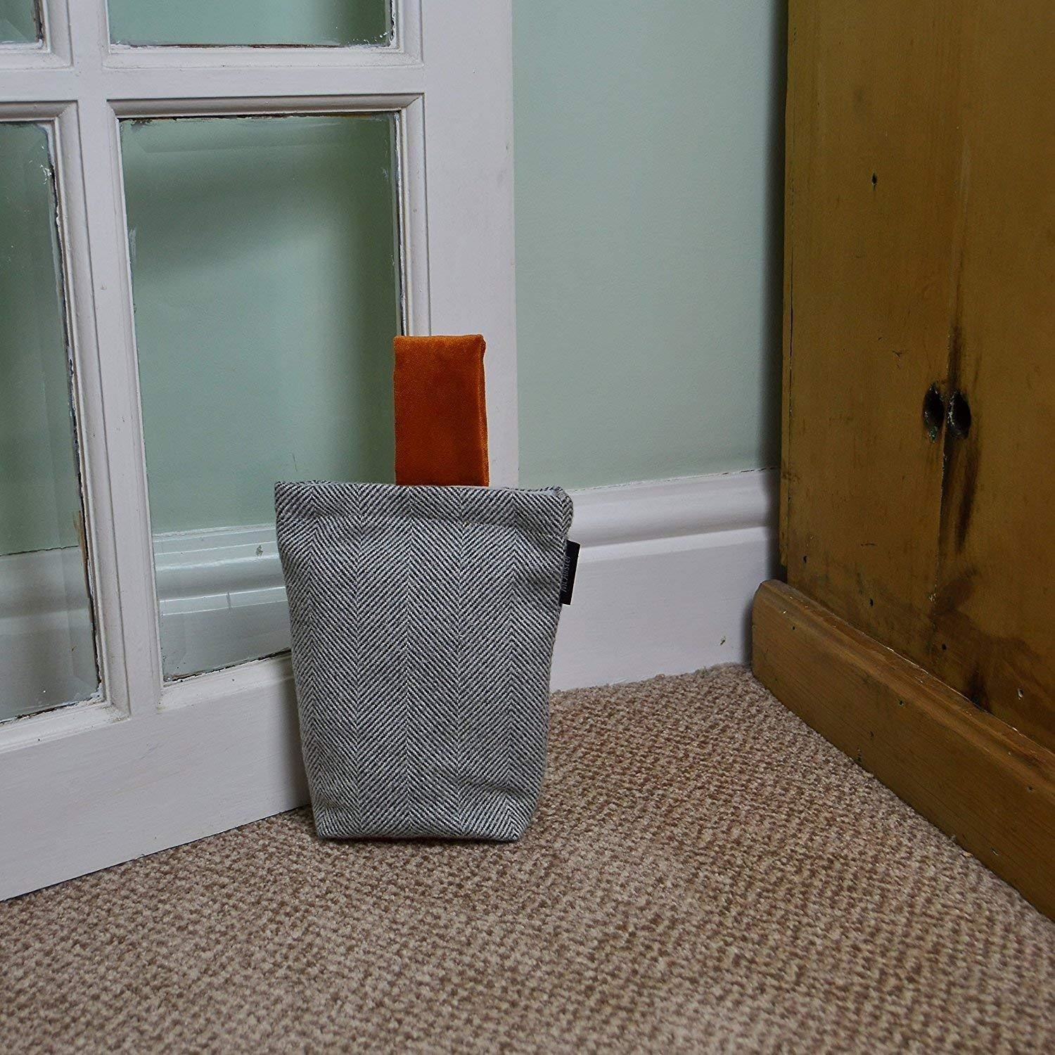 McAlister Textiles Herringbone Boutique Grey + Orange Door Stop Doorstops