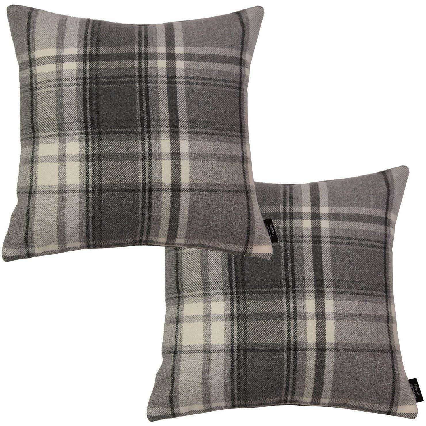 McAlister Textiles Heritage Charcoal Grey Tartan 43cm x 43cm Cushion Sets Cushions and Covers Cushion Covers Set of 2