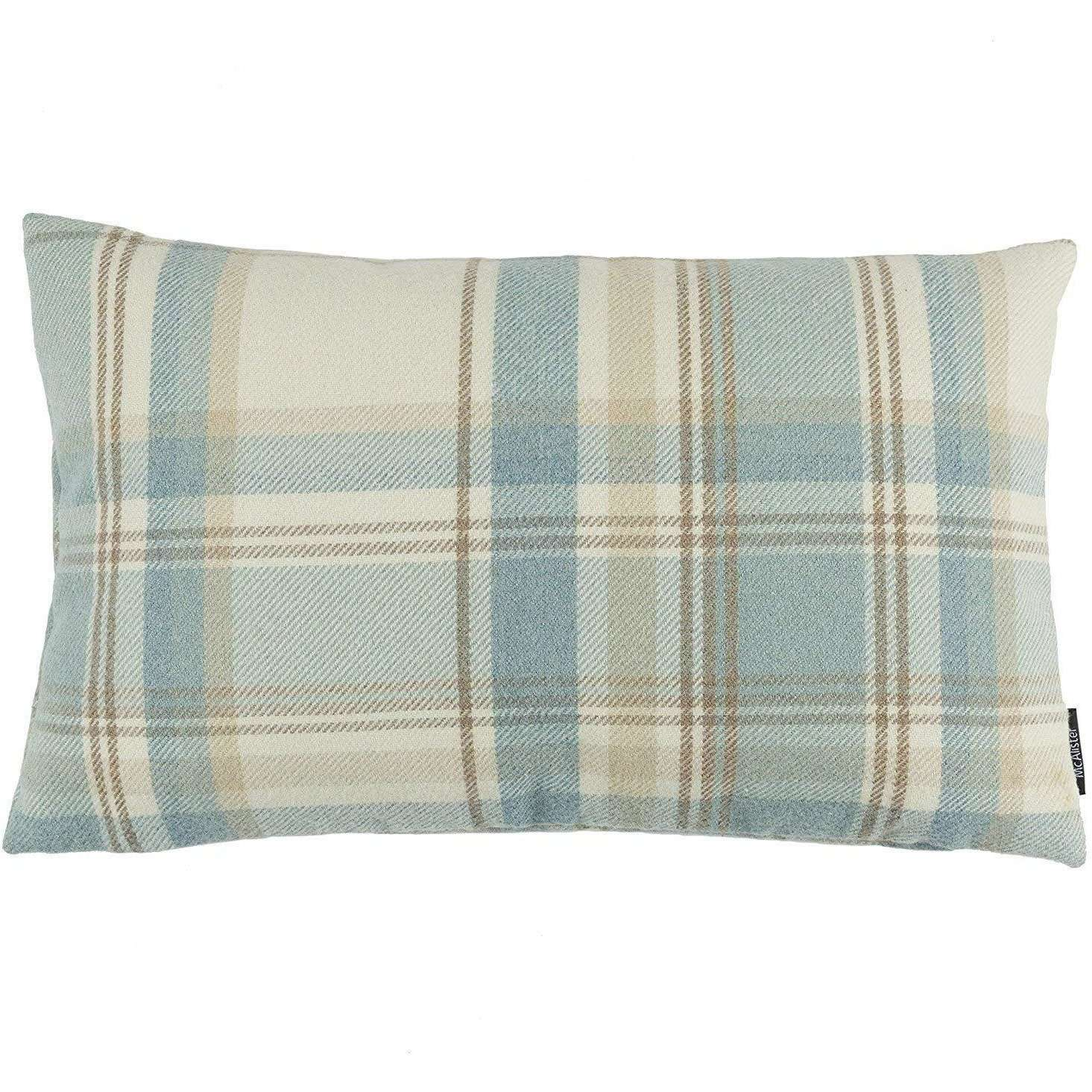 McAlister Textiles Heritage Duck Egg Blue Tartan Cushion Cushions and Covers Cover Only 50cm x 30cm