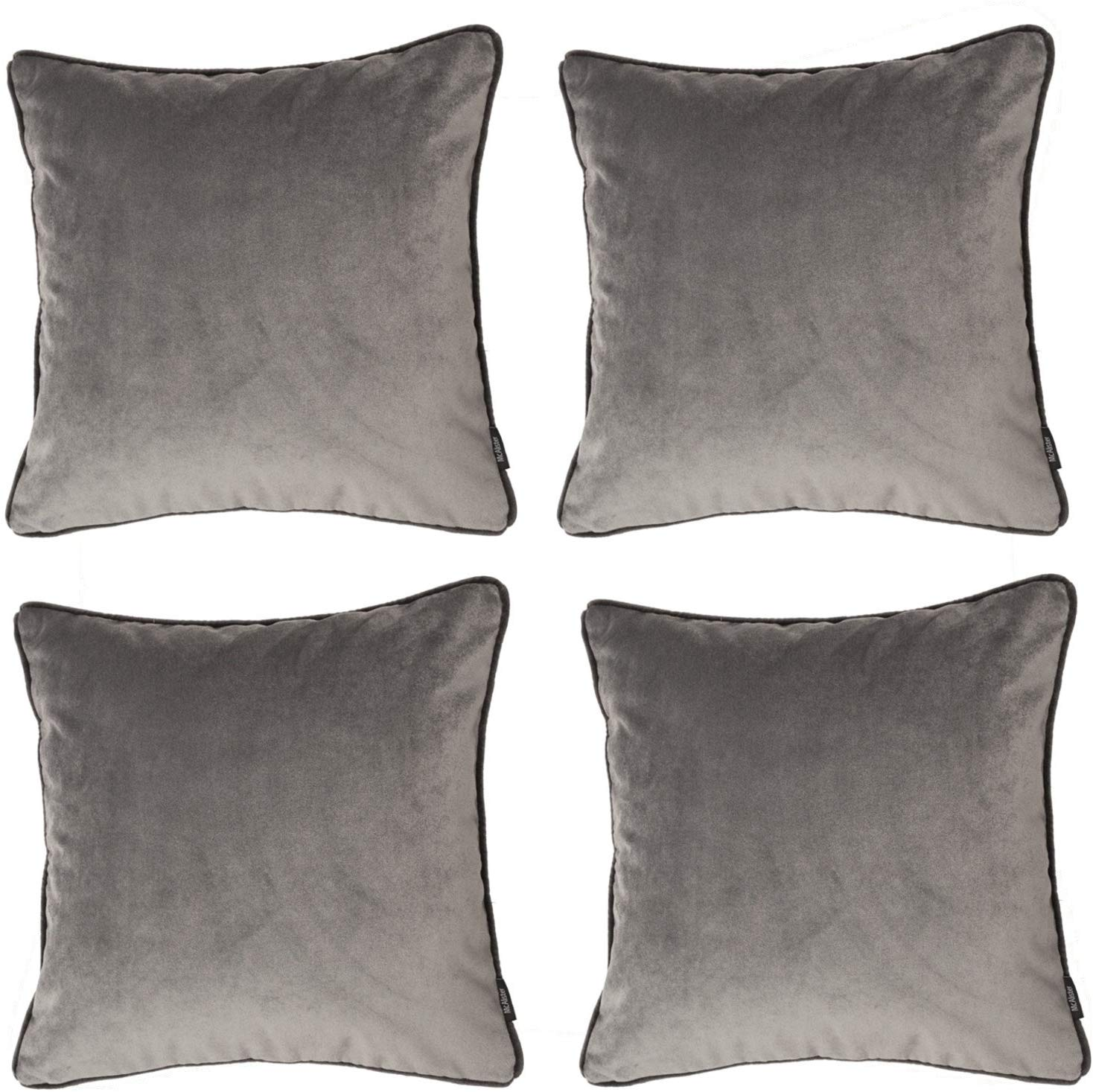 McAlister Textiles Matt Soft Silver Velvet 43cm x 43cm Cushion Sets Cushions and Covers Cushion Covers Set of 4