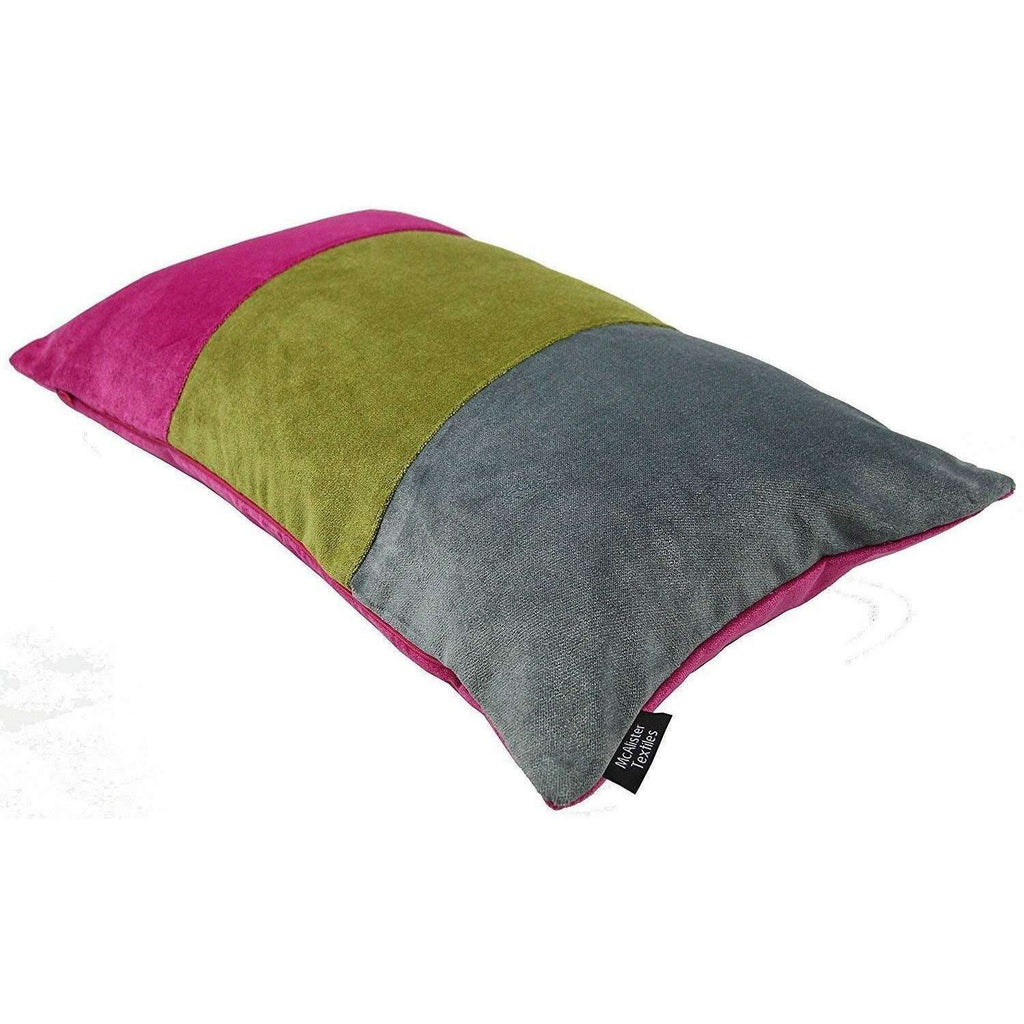 McAlister Textiles Patchwork Velvet Pink, Green + Grey 50cm x 30cm Pillow Sets Pillow