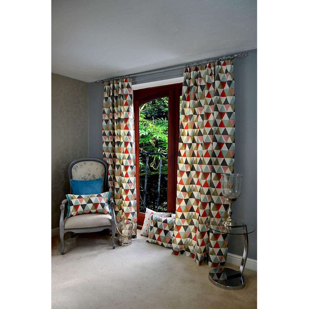 "McAlister Textiles Vita Cotton Print Burnt Orange Curtains Tailored Curtains 116cm(w) x 182cm(d) (46"" x 72"")"