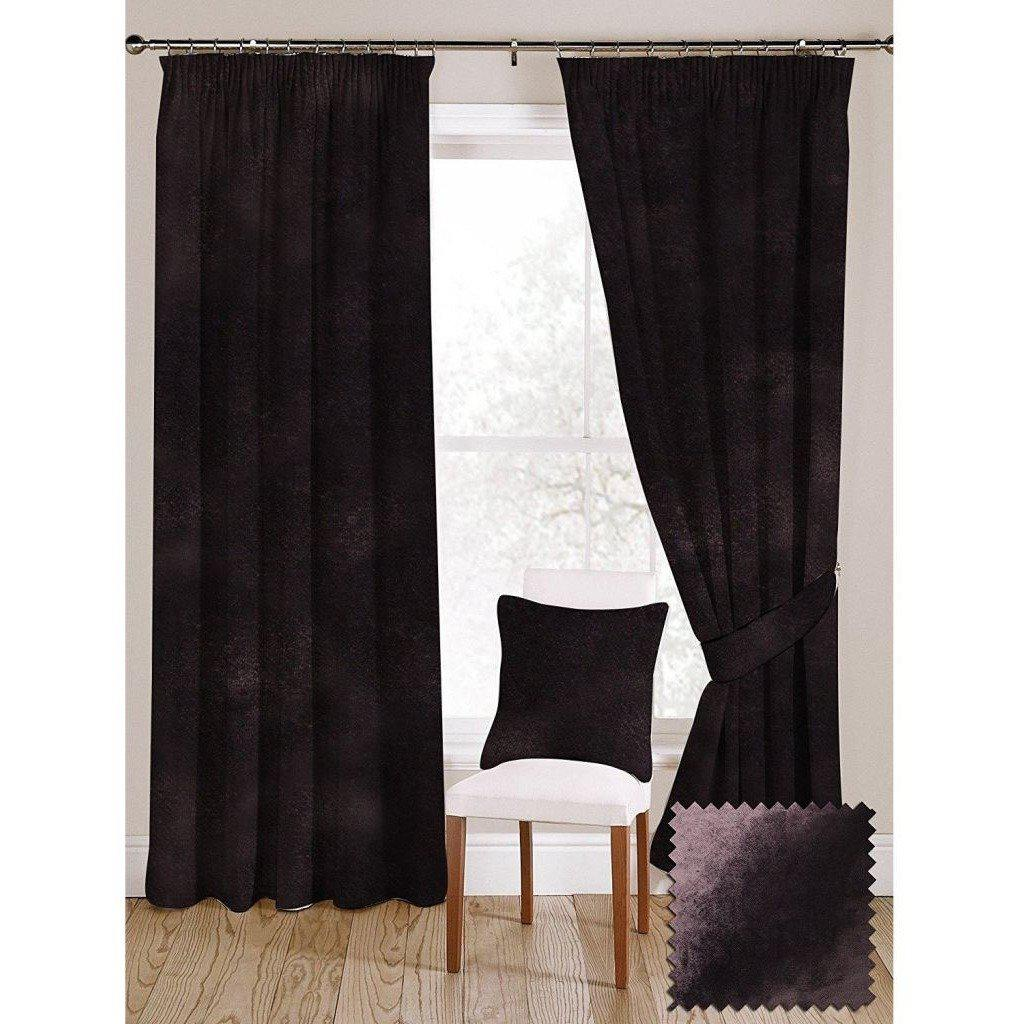 "McAlister Textiles Aubergine Purple Crushed Velvet Curtains Tailored Curtains 116cm(w) x 182cm(d) (46"" x 72"")"