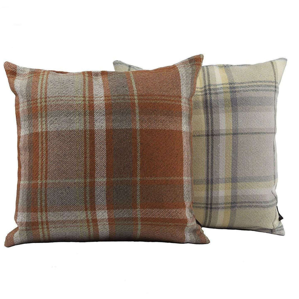 McAlister Textiles Heritage Burnt Orange + Grey Tartan Cushion Cushions and Covers