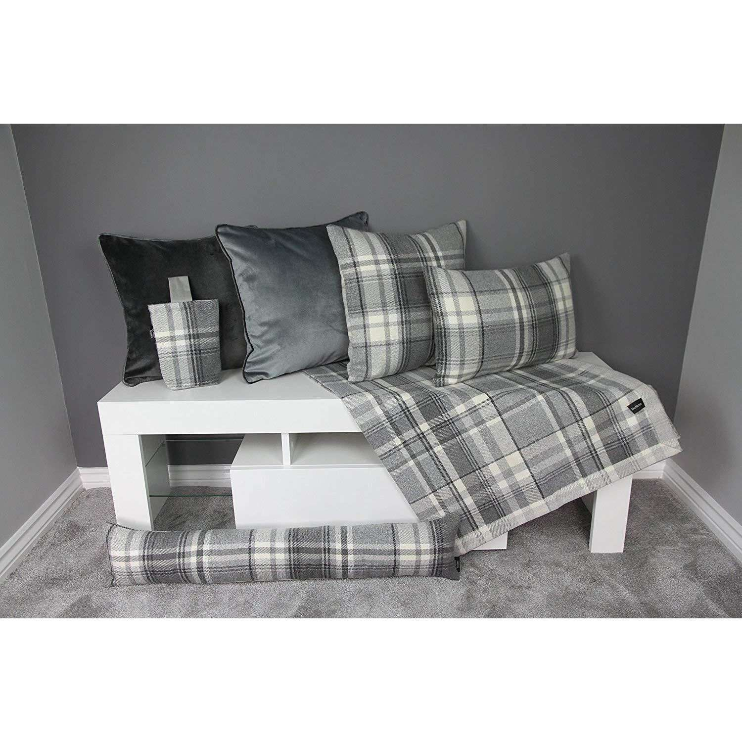 McAlister Textiles Deluxe Tartan Charcoal Grey Bed Pillow Large Boudoir Cushions