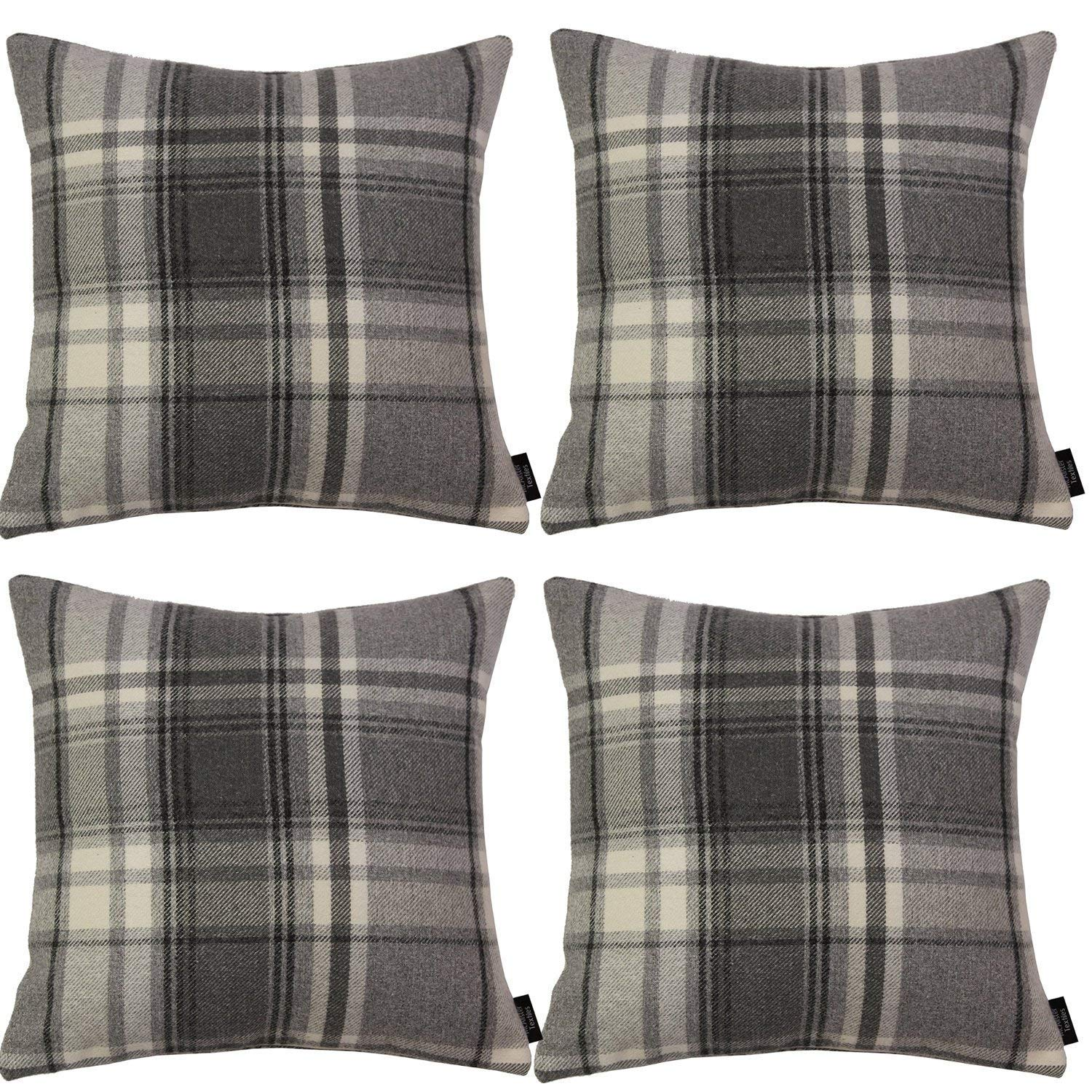 McAlister Textiles Heritage Charcoal Grey Tartan 43cm x 43cm Cushion Sets Cushions and Covers Cushion Covers Set of 4
