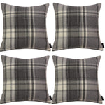Charger l'image dans la galerie, McAlister Textiles Heritage Charcoal Grey Tartan 43cm x 43cm Cushion Sets Cushions and Covers Cushion Covers Set of 4