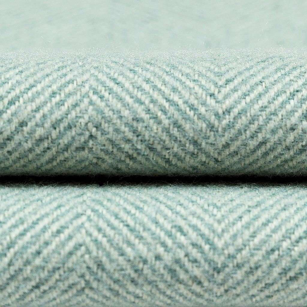 McAlister Textiles Herringbone Duck Egg Blue Throws & Runners Throws and Runners