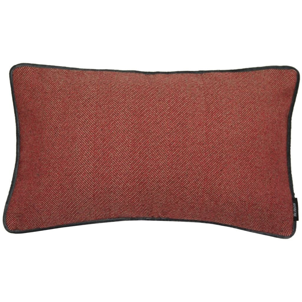 McAlister Textiles Herringbone Boutique Red + Grey Cushion Cushions and Covers Cover Only 50cm x 30cm