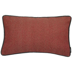 McAlister Textiles Herringbone Boutique Wool Feel Red & Charcoal Grey Cushion-Cushions and Covers-