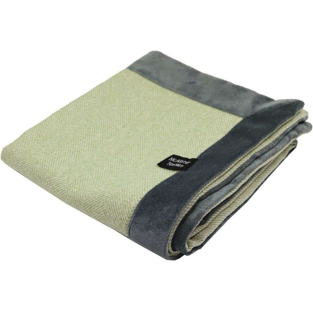 McAlister Textiles Herringbone Boutique Green + Grey Throw Blankets & Runners Throws and Runners Regular (130cm x 200cm)