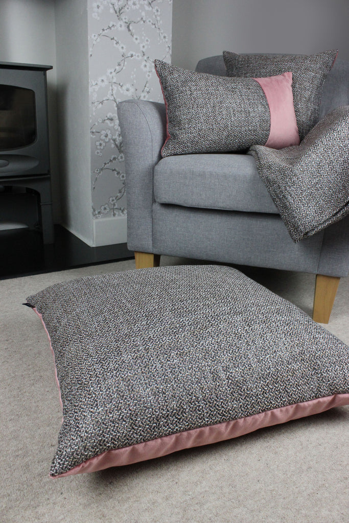 McAlister Textiles Lewis Velvet Border Tweed Pillow Grey Heather and Pink Pillow