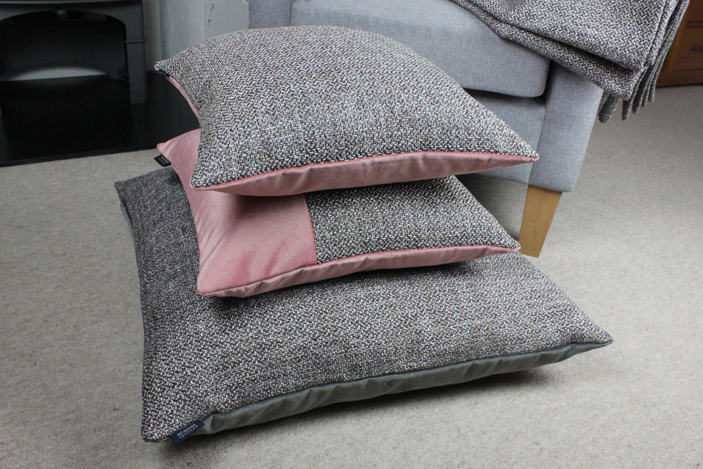McAlister Textiles Lewis Tweed Pillow Grey Heather and Pink Pillow