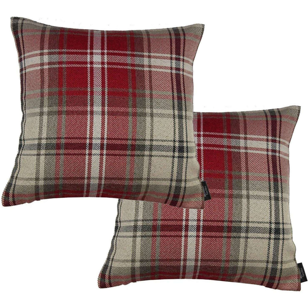 McAlister Textiles Angus Red + White Tartan 43cm 43cm Cushion Sets Cushions and Covers Cushion Covers Set of 2