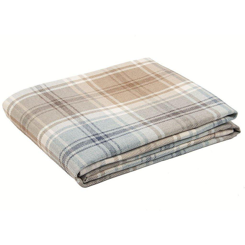 McAlister Textiles Angus Tartan Check Duck Egg Blue Throw Throws and Runners Bed Runner (50cm x 240cm)