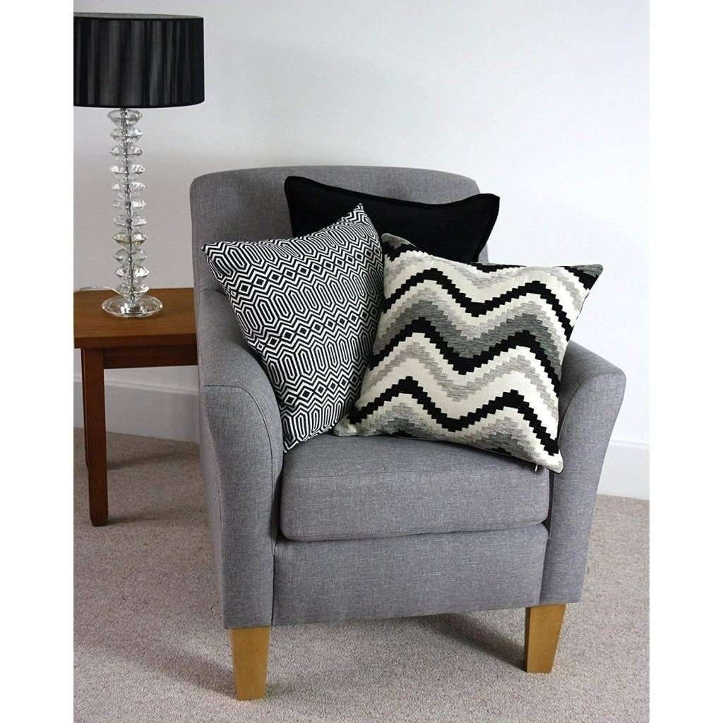 McAlister Textiles Plain Chenille Black Cushion Cushions and Covers