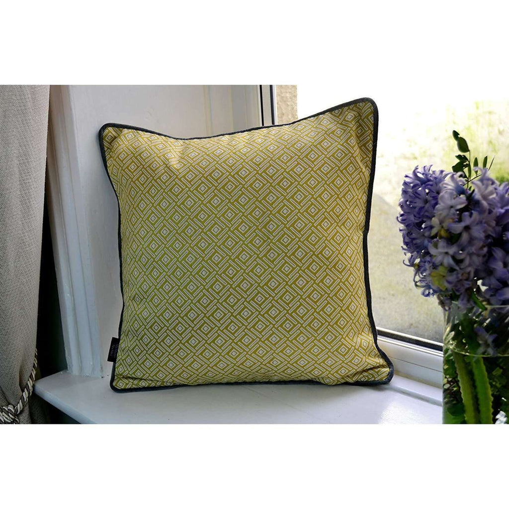 McAlister Textiles Scandinavian Yellow + Grey 43cm x 43cm Cushion Set of 3 Cushions and Covers