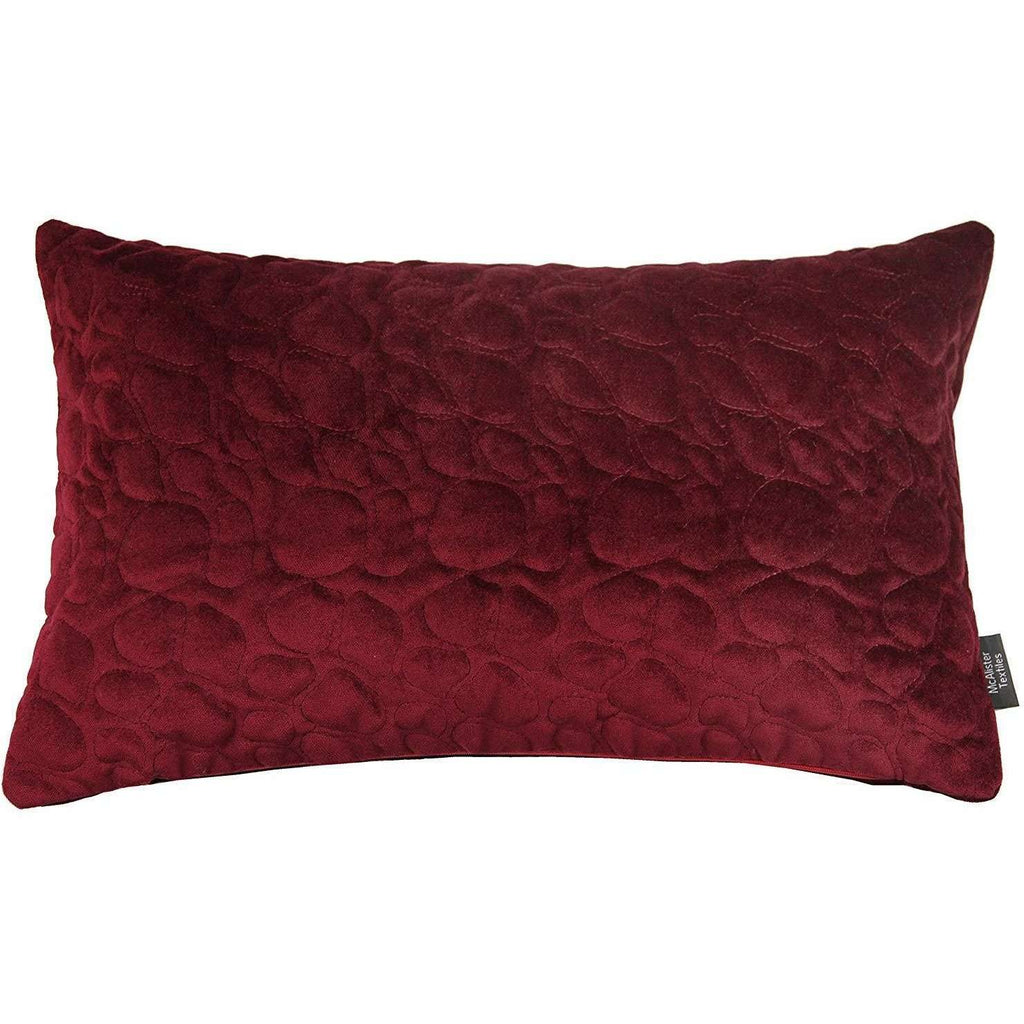 McAlister Textiles Pebble Quilted Wine Red Velvet Pillow Pillow Cover Only 50cm x 30cm