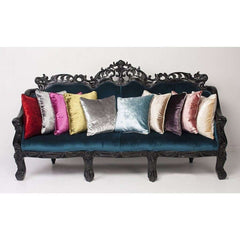 McAlister Textiles Luxury Shiny Velvet Plain Fabric Pillow Cushion Covers Metallic Colour Range On Couch