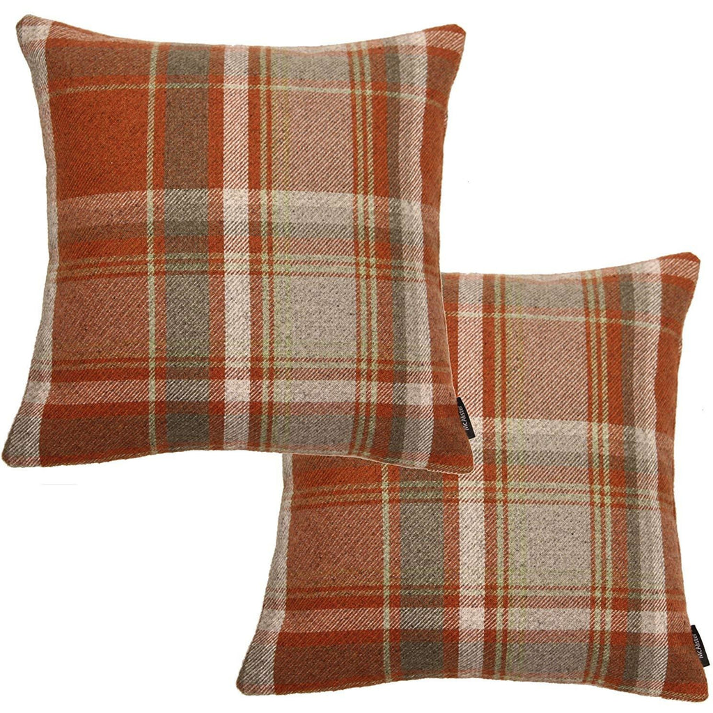 McAlister Textiles Heritage Burnt Orange + Grey Tartan 43cm x 43cm Cushion Sets Cushions and Covers Cushion Covers Set of 2
