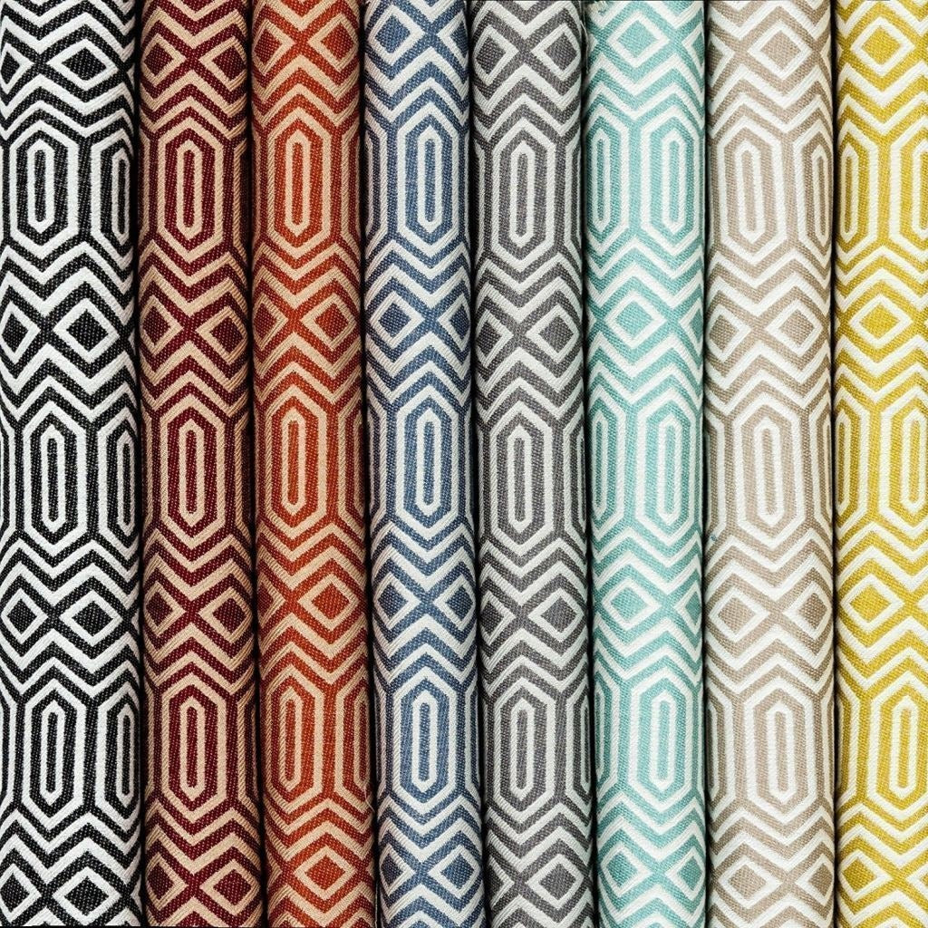 McAlister Textiles Colorado Geometric Duck Egg Blue Fabric Fabrics