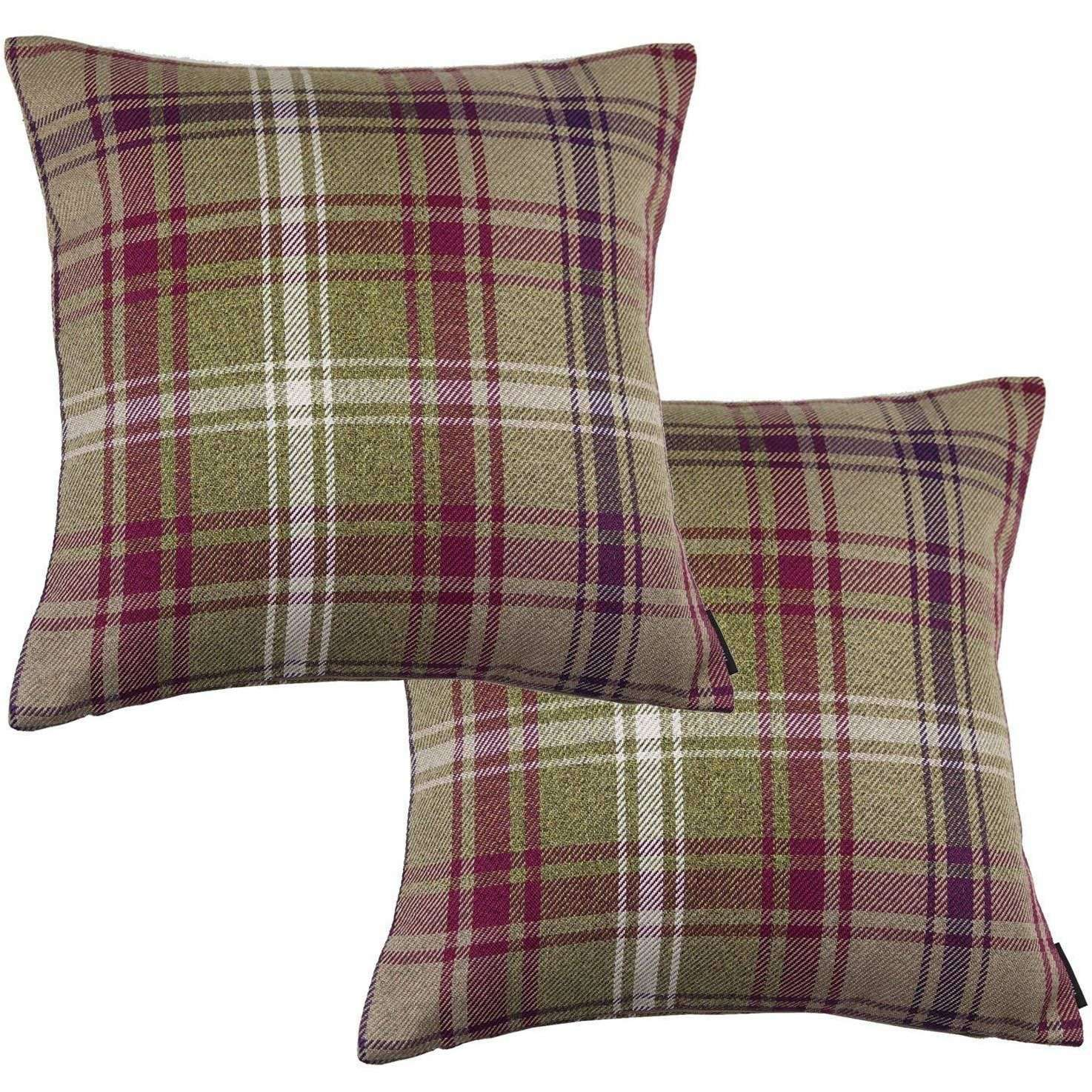 McAlister Textiles Angus Purple + Green Tartan 43cm x 43cm Cushion Sets Cushions and Covers Cushion Covers Set of 2