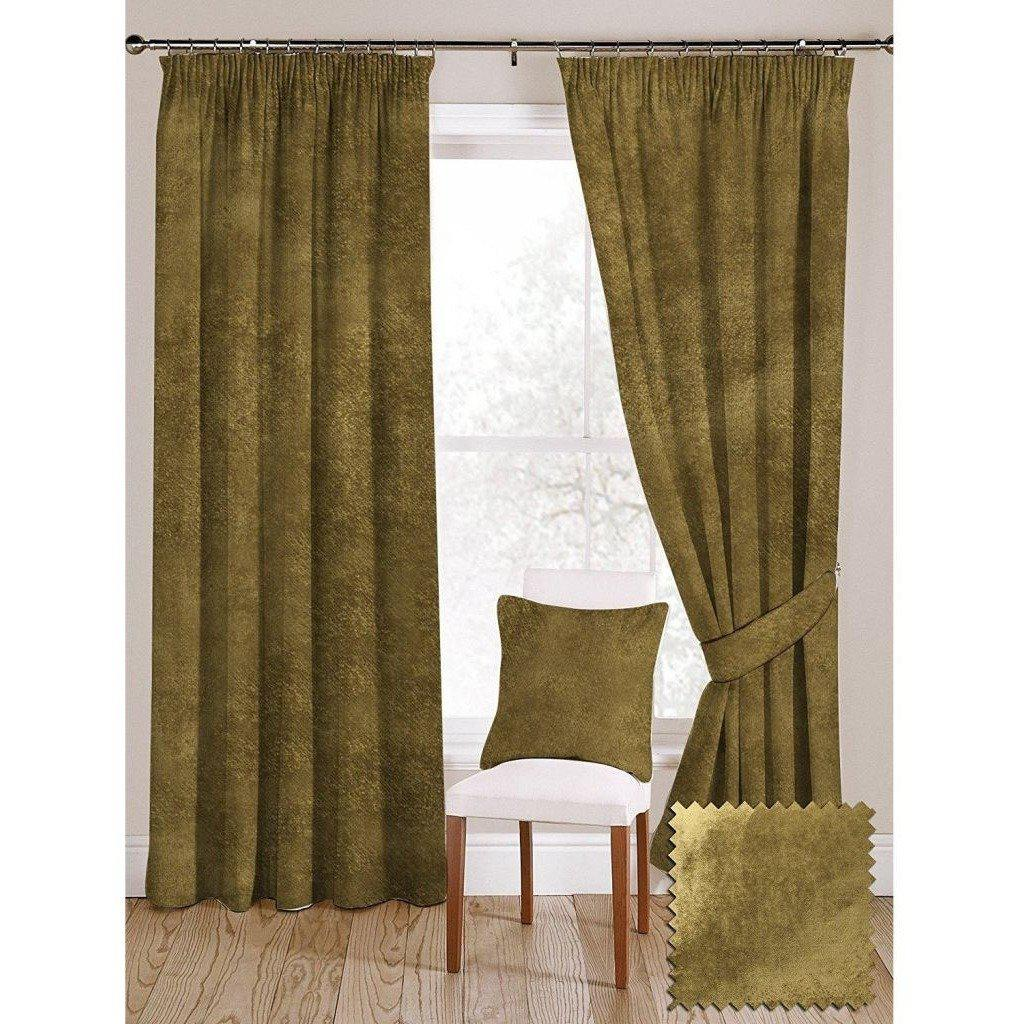 "McAlister Textiles Lime Green Crushed Velvet Curtains Tailored Curtains 116cm(w) x 182cm(d) (46"" x 72"")"